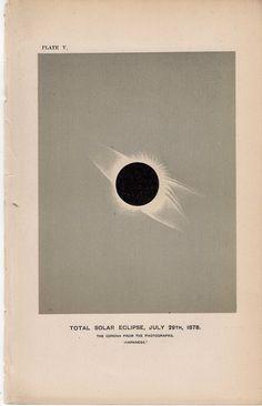 1885 sun solar eclipse original antique celestial astronomy print