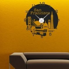 Style and Apply San Francisco Wall Clock Wall Decal Color: Yellow