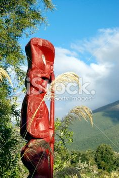 Maori Totem (Pou) looking out to distant Mountains Royalty Free Stock Photo Mountain Photos, Kiwiana, New Zealand Travel, Travel And Tourism, Image Now, Lakes, National Parks, Scenery, Royalty Free Stock Photos
