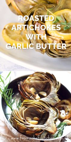 Don't boil or steam the delicate flavor of artichokes away! Oven Roasted Artichokes with Roasted Garlic Butter is an easy way to cook artichokes to preserve their wonderful flavor. Roasted Artichoke Recipe, Grilled Artichoke, Roasted Artichokes, Roasted Garlic, How To Grill Artichokes, Cooking Artichokes, Appetizer Recipes, Appetizers, Vegetarian