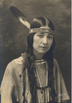 Chicasaw Woman | beautiful | feather | headband | native american | portrait | vintage | plaits | natural beauty
