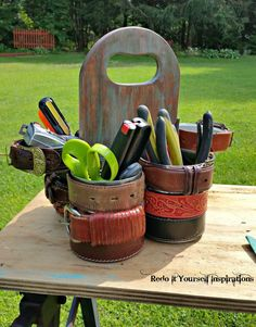 Make a Gorgeous Tool Caddy From Tin Cans and a Cutting Board