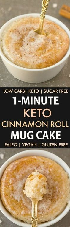 Keto Cinnamon Roll Mug Cake (Paleo, Vegan, Sugar Free, Low Carb)- An easy mug cake recipe which takes one minute and is super fluffy, light and packed with protein- Tastes like a cinnamon bun! Recipe on t Mug Cake Low Carb, Mug Cake Healthy, Paleo Mug Cake, Vanilla Keto Mug Cake, Protien Mug Cake, Protein Cake, Healthy Protein, High Protein, Low Carb Sweets