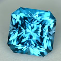 SOLD -MJ3421 - 5.08ct electric blue Topaz - Brazil 8.97 x 7.74 mm clean, custom cut, irradiated, $125 including shipping