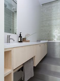 Ask Ok Eng Studio – Apartment at St. Contemporary Bathroom Mirrors, Modern Bathroom Design, Studio Apartments, Custom Made Furniture, Furniture Design, Master Bathroom Layout, Bamboo Bathroom, Bathroom Inspiration, Bathroom Inspo