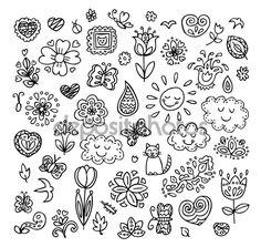 Voorjaar doodles set. Hand tekent vlinders, bloemen, zon, wolken. Seizoen van de bloesem, illustratie, leuke achtergrond