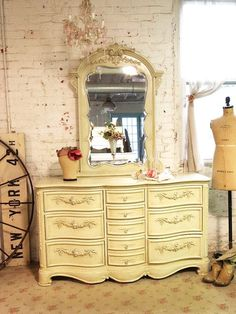Painted Cottage Shabby Sage Romance Dresser with Mirror