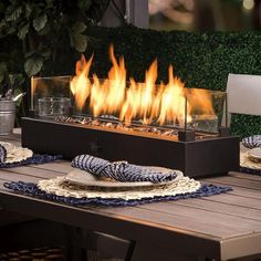 Fire Pit Table Top, Gas Fire Table, Fire Pit Patio, Outdoor Fire, Outdoor Decor, Fire Pits, Outdoor Ideas, Outdoor Living, Outdoor Spaces