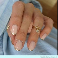Elegant and classy nail design with golden tips