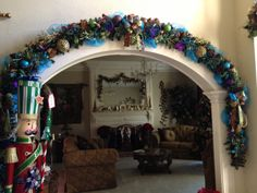 Garland around arch or window Peacock Christmas, Christmas Tree Wreath, Xmas Tree, Winter Christmas, Christmas 2019, Merry Christmas, Winter Holidays, Christmas Themes, All Things Christmas