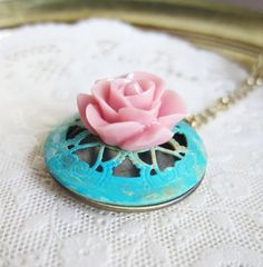 Turquoise Locket Necklace Pink Rose Bridesmaid Gift Jewelry Pink Mint Necklace Hand Painted Patina Verdigris Rustic Antique Brass Romantic