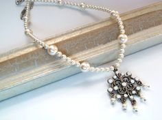 $65 Beautifully elegant and understated Swarovski pearl and crystal necklace to make your special day even more unique!