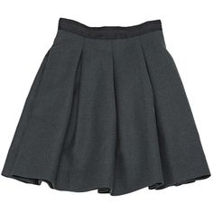 Pre-owned Miu Miu Wool Mini Skirt ($141) ❤ liked on Polyvore featuring skirts, mini skirts, anthracite, women clothing skirts, short skirts, wool mini skirt, flared skirt, high-waist skirt and short flared skirt