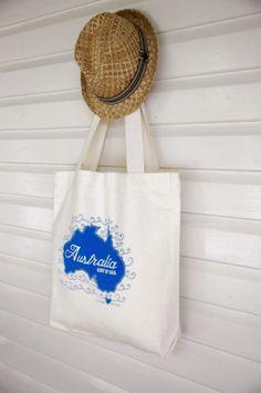 Australia {girt by sea} Market Bag by yardage design ~ hand printed fabric and homewares