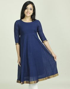 Fabindia.com | Cotton Mangalgiri Zari Border Anarkali Long Kurta