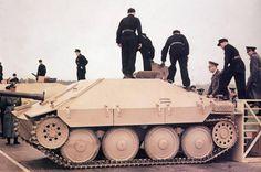 Hitler inspecting a Jagdpanzer 38-t ( tank destroyer) 'Hetzer'.