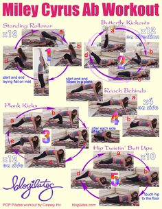 How to get abs like Miley Cyrus! POP Pilates style! Printable workout moves just 4 u.