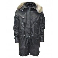 Bolongaro Trevor Quadrophenia Parka made from high quality leather with a fur trim hood.