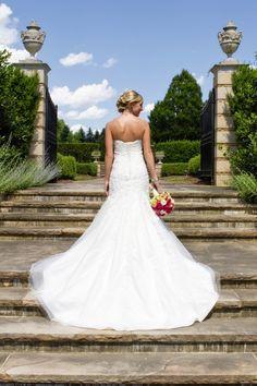 We love this gorgeous strapless wedding gown! #weddingdress