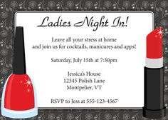 Items similar to Ladies Night Invitation DIY Printable Ladies Night Bachelorette Make Up Party on Etsy