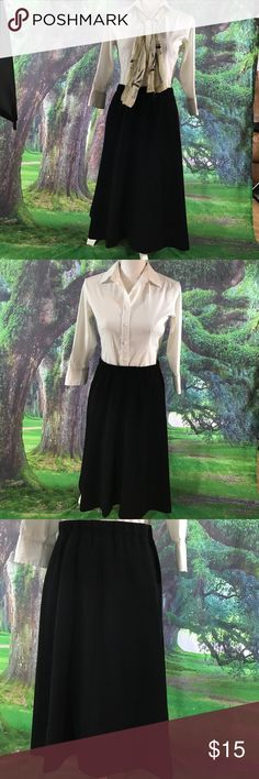 John Meyer size 14 black knit skirt Great for the office or church. John Meyer black size 14 knit skirt in good used condition.  Length from top of the waist to the bottom of the hem is approximately 25. Waist is elastic.          (319) John Meyer Skirts A-Line or Full