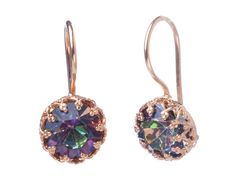 Gold earrings with Swarovski multicolor sparkling earrings, lace stone settings, purple multicolor earrings