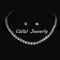 CWWZircons Stunning Big Carat Round CZ Crystal Necklace and Earrings Luxury Bridal  Party Jewelry Set For Wedding Evening T061 104afd61a670