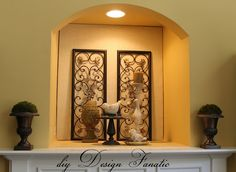 Great look....easy way to repurpose a tv niche!  I hate those things! Alcove Decor, Niche Decor, Art Niche, Alcove Ideas, Nook Ideas, Wall Ideas, Above Fireplace Ideas, Mantle Ideas, Fireplace Mantel