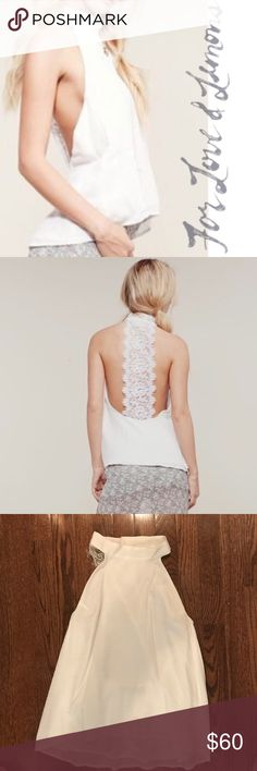 For Love and Lemons White Halter Top-M Beautiful For Love and Lemons white tank top with lace detail at the back. White, lined, size medium. Worn once, no flaws. Buttons at the neck For Love And Lemons Tops Tank Tops