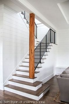 Home Renovation Basement Stairs to the basement -- open staircase Wood planked walls Stained and painted stairs Metal railing Basement Staircase, Basement Bedrooms, Staircase Design, Basement Bathroom, Basement Walls, Wood Stairs, Staircase Ideas, Rustic Basement, Basement Flooring