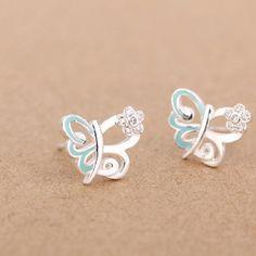 925 pendientes de esmalte de circón flor de plata mariposa epoxi código(1034174)