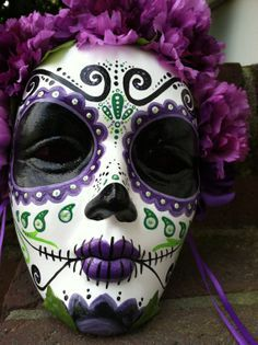 masquerade sugar skull | ... Dead hand painted decorative mask Dia de los Muertos sugar skull