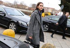Alexia Bellini at Milan Fashion week is wearing a tweed jacket we LOVE! Get the look here: http://maxamcanada.com/look-books/lauren-vidal/