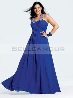 robe de soire grande taille elgant mousseline empire licou longue - Robe Habille Pour Mariage Grande Taille