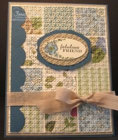 """2011 February   Janice Urke - """" """"Quilt"""" look that everyone has been doing with the Square Lattice Embossing Folder. This card uses the Springtime Vintage Designer Series Paper   This is perfect paper for this type of look!"""""""