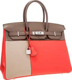 Luxury Accessories:Bags, Hermes Limited Edition 35cm Rose Jaipur, Etain & GrisTourterelle Clemence Leather Cascade Birkin Bag with BrushedPalladium H... Image #1