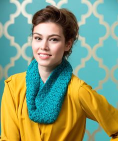 Perfect for beginner crocheters, this elegant cowl is soft and comfy to wear. Colours of this yarn are frosted with just a touch of metallic fibre for a bit of glam.