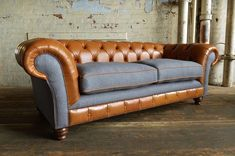 British handmade Naunton Tan Leather and Naples Slate Velvet 3 Seater Sofa. Fibre cushion seats for extra comfort Best Leather Sofa, Tan Leather, Denim Couch, Homemade Sofa, Velvet Chesterfield Sofa, Sofa Deals, Diy Chair, Cushions On Sofa, Sofa Upholstery