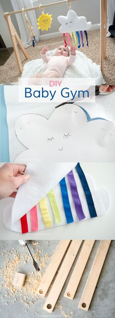 DIY Baby Gym tutorial. Includes Free Printable Patterns for the Rainbow Cloud, Sun, and raindrop. Perfect handmade baby shower gift idea!