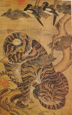Korea Minhwa Magpie and tiger painting Korean Painting, Japanese Painting, Chinese Painting, Japanese Tiger, Japanese Art, Korean Art, Asian Art, Traditional Paintings, Traditional Art