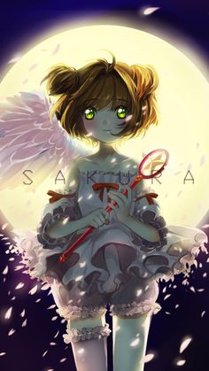 Short hair, night, Cute, Sakura Kinomoto, 720x1280 wallpaper