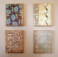 DIY Scrapbook Paper  Canvas Art