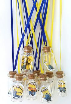 minion necklace, message in a bottle necklace, minion party favors, minions charms, bottle charm necklace, bottle charms pendant, minions by Cthruglass on Etsy