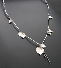 """Necklace   Aileen Lampman. """"Bamboo"""". Sterling silver.  Also available with rose gold filled stems"""