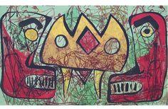 Calin-Uricaru Luxandra,  FORȚA CULORII- Mască africană,Panou decorativ-pigment,dimensiuni 110 cm/175 cm on ArtStack #calin-uricaru-luxandra #art