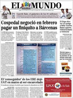 Los Titulares y Portadas de Noticias Destacadas Españolas del 2 de Septiembre de 2013 del Diario El Mundo ¿Que le pareció esta Portada de este Diario Español?