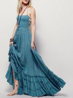 Sexy Shirring Open Back Scalloped Halter Maxi Dress