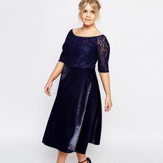 51eaa087a248f Midi Plus Size High Waist Lace Dress //Item is FREE Shipping Worldwide! /.  KleiderÜbergrößenmode ...