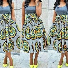 African Print Midi Skirt ~African fashion, Ankara, kitenge, African women dresses, African prints, African men's fashion, Nigerian style, Ghanaian fashion ~DKK