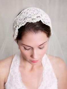This delicate lace cap veil is from the glamourous era where the Juliet Cap Veil became a wedding trend. The lovely vintage lace bridal cap (brand